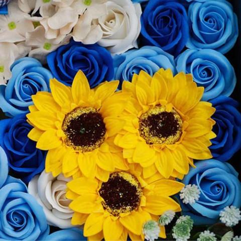 Hoa hồng sáp thơm Gift set màu xanh