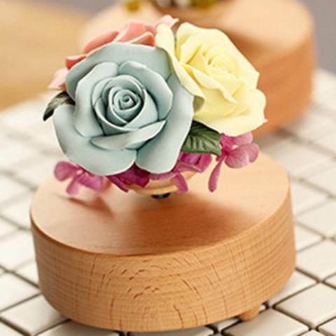 Hộp nhạc hoa hồng đế xoay-xanh